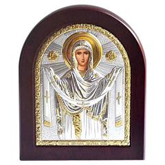 Икона Покрова Богородицы в серебряном окладе.