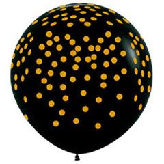 Шар (36''/91 см) Золотое конфетти, Черный (080), пастель, 5 ст.