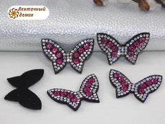 Бабочки стразовые на фетре с малиновыми камнями №3