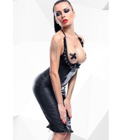 Костюм с открытой грудью и высокой юбкой Danika