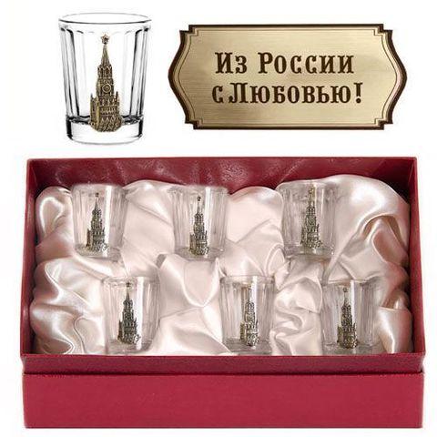 Набор 6 стопок(Оптика) Кремль(латунь) к/к красн Из России с любовью!
