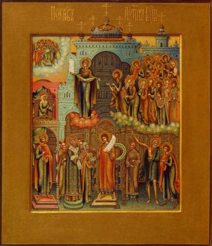 Икона Покров Пресвятой Богородицы на дереве на левкасе мастерская Иконный Дом