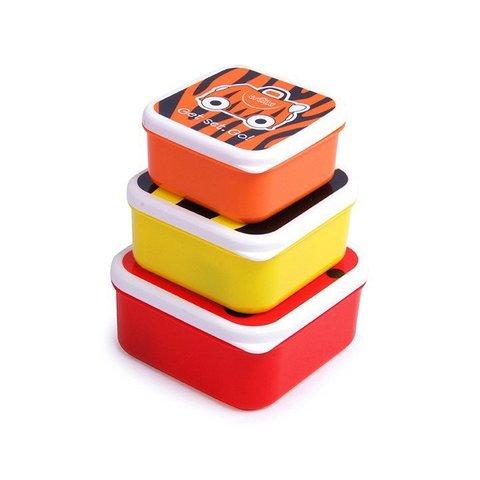 Ланч бокс 3 в 1, красный, оранжевый, желтый