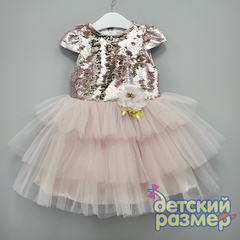 Платье 98-116 (двойные пайетки, брошь)