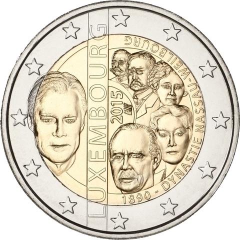 2 евро 2015 Люксембург 125-летие династии Нассау-Вейльбург