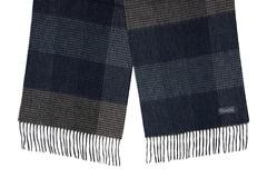 Шерстяной шарф, мужской в клетку темный 31023