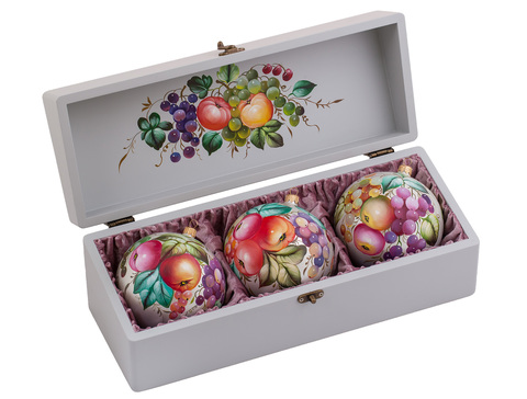 Zhostovo Christmas balls in wooden box - set of 3 balls SET04D-667785850