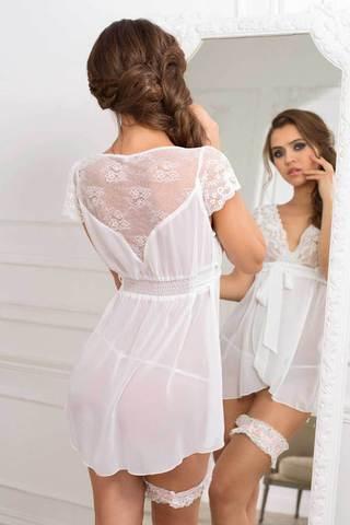 Белая домашняя короткая эротическая прозрачная легкая сорочка бэби долл с кружевом вид сзади