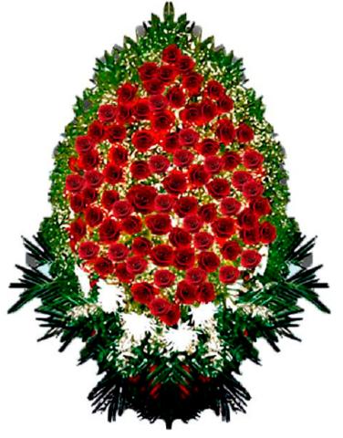 Траурный венок из живых цветов ВЖ 07 -120 см