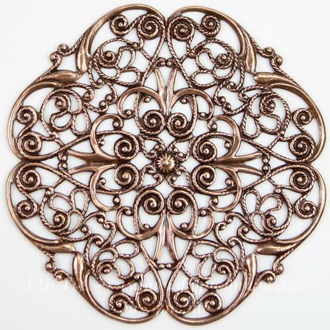 """Винтажный декоративный элемент - филигрань """"Прекрасный цветок"""" 47х47 мм (оксид меди)"""