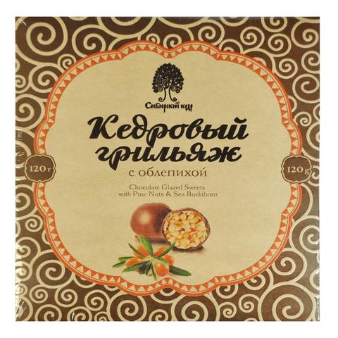 Конфеты Грильяж кедровый с облепихой в шоколадной глазури 120 гр