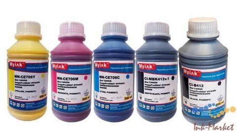 Комплект пигментных чернил MyInk CI-412 для Canon TM-200, TM-205, TM-300, TM-305. Набор 5 цветов по 500 мл
