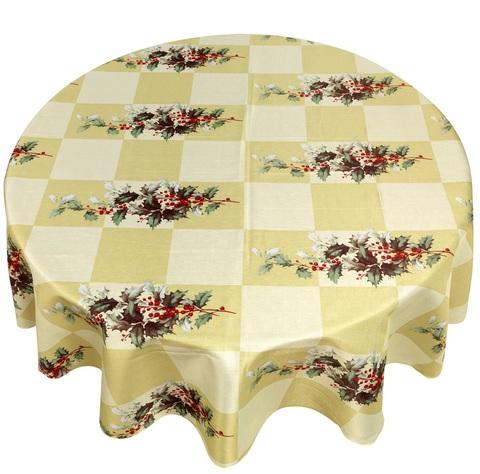 Скатерть круглая 178 Carnation Home Fashions Christmas Fabric Tablecloths Yuletide