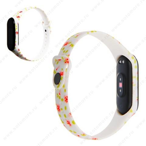 Ремешок для фитнес-браслет Xiaomi Mi Band 3/ 4 силиконовый с рисунком Вид 22