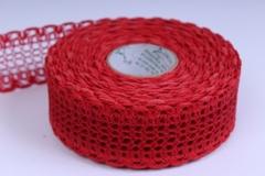 Лента ткан. 4см*10м кружево Красная 224162 П