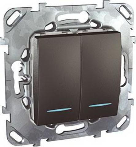 Выключатель двухклавишный с подсветкой проходной - Переключатель с подсветкой двухклавишный. Цвет Графит. Schneider electric Unica Top. MGU5.0303.12NZD