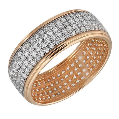 Кольцо из золоченного серебра усыпанное фианитами
