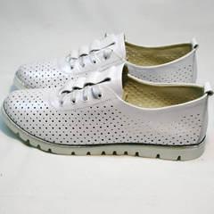 Туфли со шнурками женские летние Mi Lord 2007 White-Pearl.