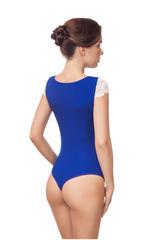 Боди стринг необычное синее с кружевными плечиками