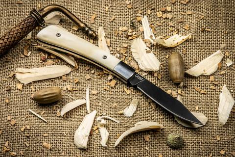 Складной нож Gent 440C Bone Black Titanium