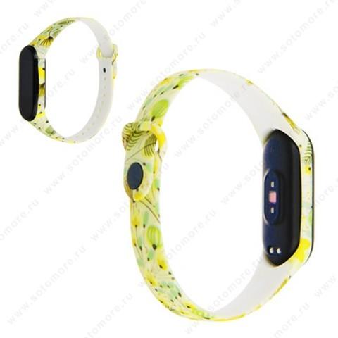 Ремешок для фитнес-браслет Xiaomi Mi Band 3/ 4 силиконовый с рисунком Вид 23