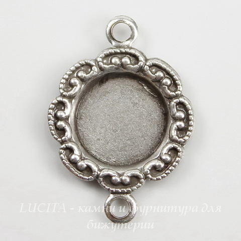 Сеттинг - основа - коннектор (1-1) для камеи или кабошона 6,5-7 мм (оксид серебра)