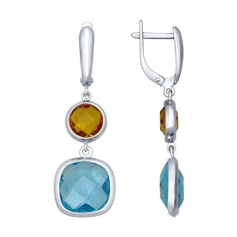 Серебряные серьги с голубым и желтым стеклом