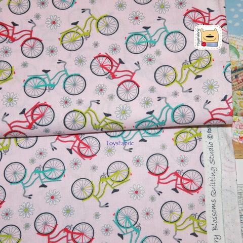 Американский хлопок 21000 (велосипеды на розовом) 45х55см