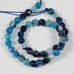 Бусина Агат Полосатый (тониров), шарик с огранкой, цвет - голубой, 4 мм, нить