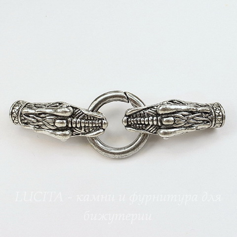 """Замок для шнура 6,8 мм с концевиками """"Дракон"""" 81х25 мм (цвет - античное серебро)"""