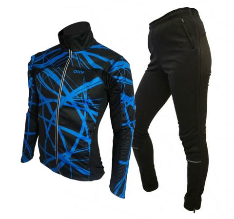 Зимний лыжный разминочный костюм OLLY Bright Sport Crimson blue