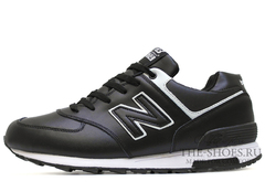 Кроссовки Мужские New Balance 574 Black White Leather Winter Edition С Мехом