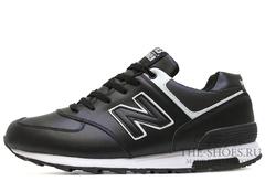 Кроссовки Мужские New Balance 574 Black White Leather Winter Edition С Мехом