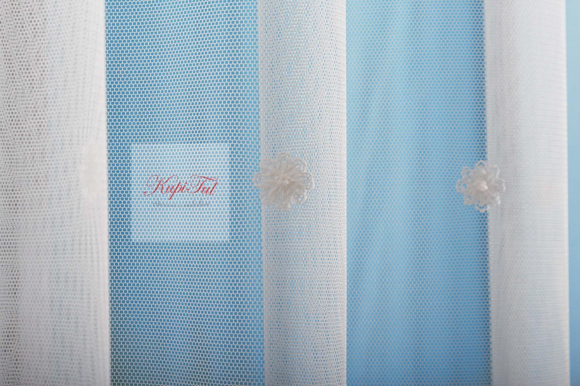 Микросетка с вышивкой Нежность (молочная)