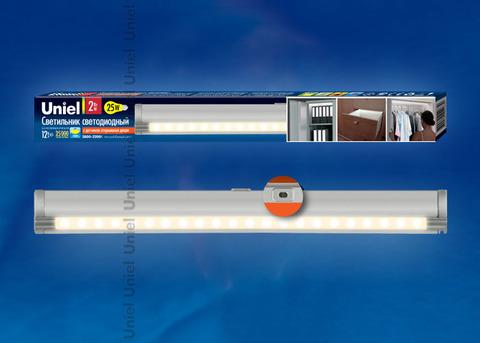 ULE-F02-2W/WW/OS IP20 SILVER картон Светодиодный светильник с датчиком открывания двери. Длина 27,5 см. Материал корпуса алюминий, цвет серебро. Теплый белый свет.