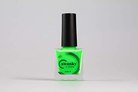 Лак для стемпинга Swanky Stamping №015, неоново-зеленый , 10 мл.