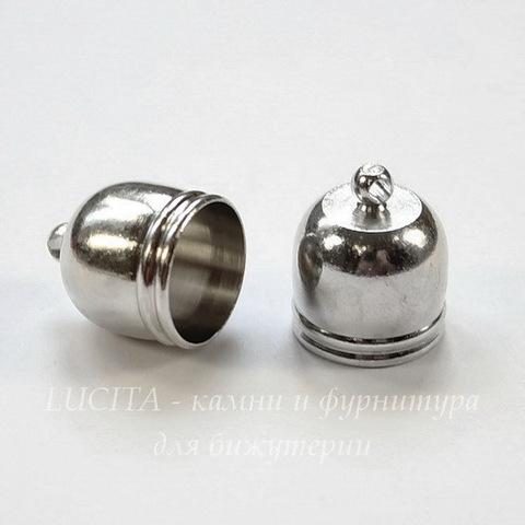 Концевик для шнура 10,5 мм, 14х12 мм (цвет - платина)
