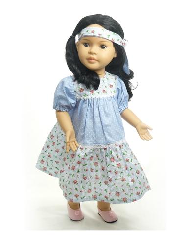 Платье горох и цветы - на кукле. Одежда для кукол, пупсов и мягких игрушек.
