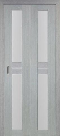 > Экошпон складная Optima Porte Турин 520.222  (2 полотна), стекло матовое, цвет дуб серый, остекленная