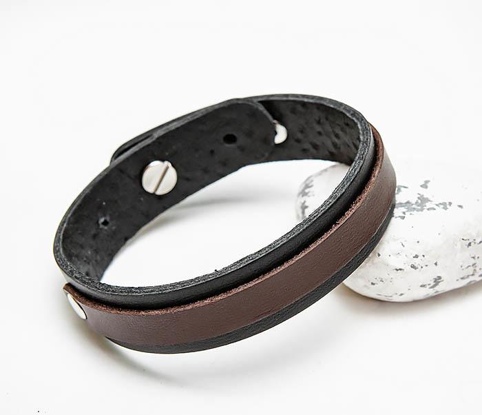 BL792-2 Браслет ручной работы из коричневой и черной кожи