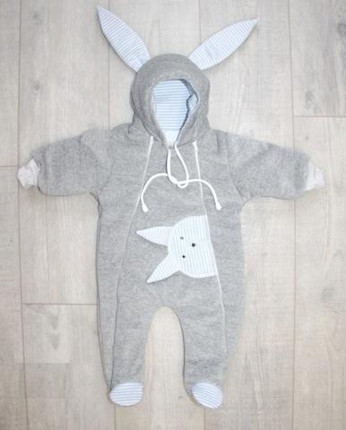 Велюровый утепленный комбинезон для новорожденного Little Bunny для мальчика