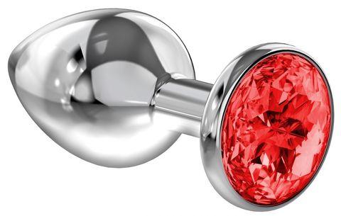 Большая серебристая анальная пробка Diamond Red Sparkle Large с красным кристаллом - 8 см. - Lola toys Diamond 4010-06Lola