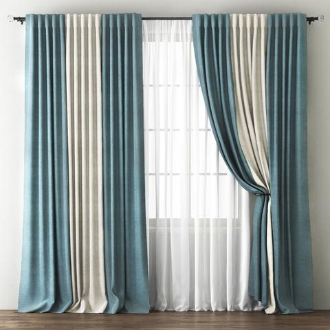Комплект штор и покрывало Карин голубой-кремовый