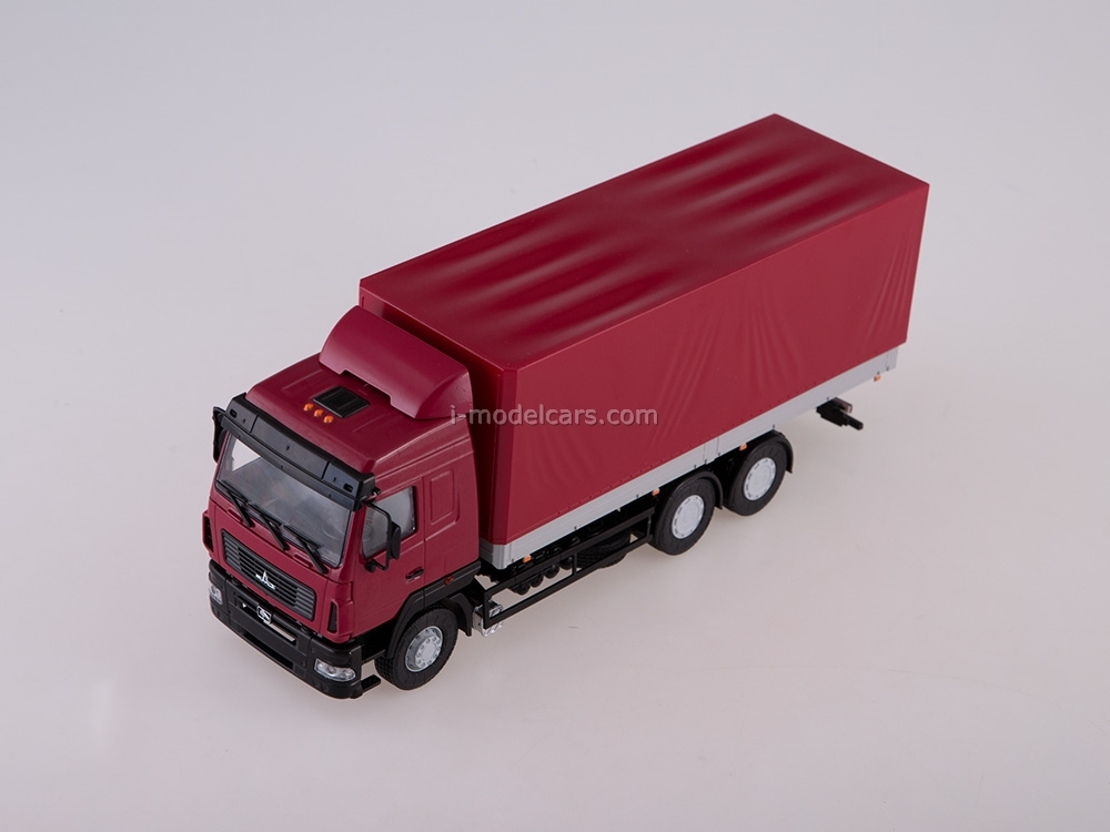 MAZ-6312 flatbed with awning restyling burgundy-gray 1:43 AutoHistory