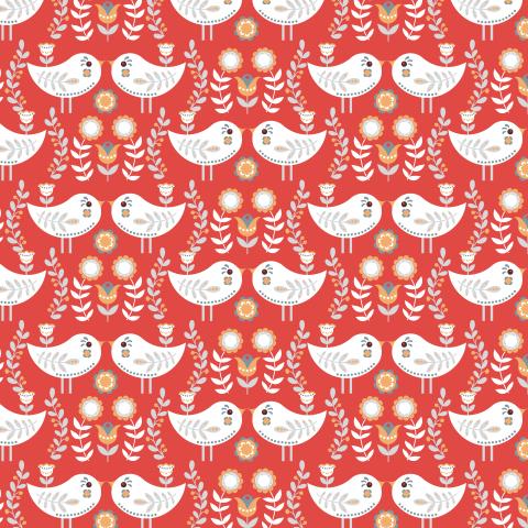 Маленькие птички на красном цветочном фоне. (Дизайнер Irina Skaska)