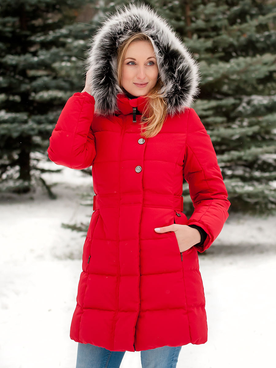 Joutsen пуховик Tiffany с мехом красный - Фото 1