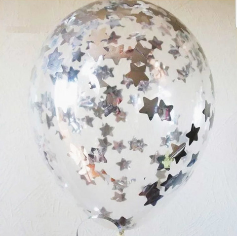 Шары с конфетти серебро звезды