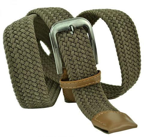 Ремень текстильный резинка мужской брючный светло-коричневый большого размера 35 мм 35Rezinka-B-009