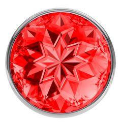 Большая серебристая анальная пробка Diamond Red Sparkle Large с красным кристаллом - 8 см. -