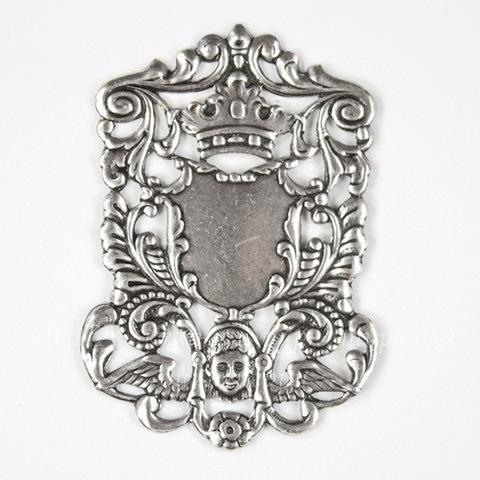 """Винтажный декоративный элемент - штамп """"Королевский герб"""" 51х35 мм (оксид серебра)"""